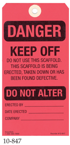 Danger Scaffold Tags