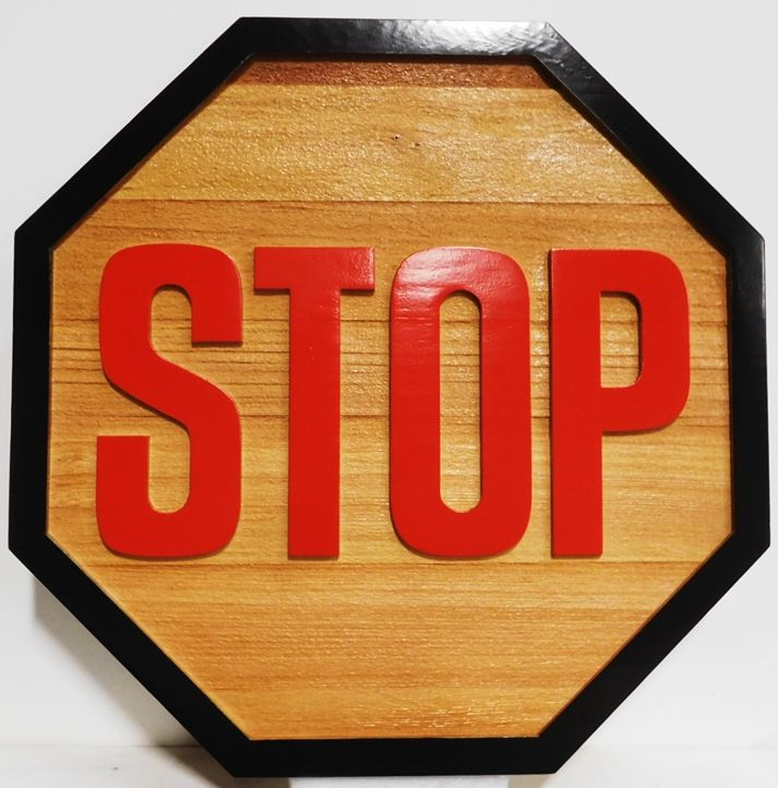 H17177 -  Carved and Sandblasted Cedar Wood  STOP Sign