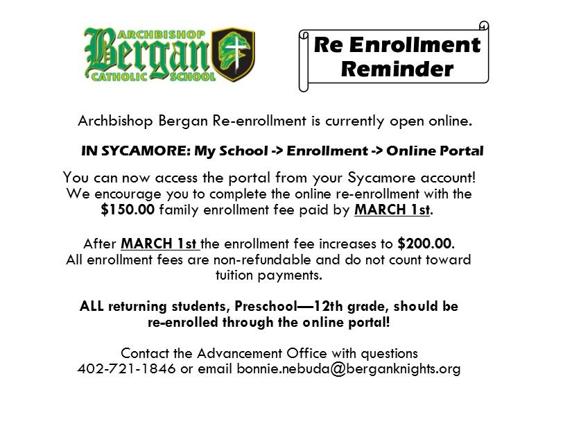 2019-2020 Re-enrollment for current families