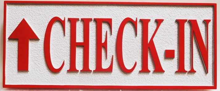 "T29405 - Carved  ""Check-In"" Directional Sign for a Motel"