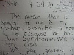 Click here to read a paper written by Kyle Rosenfeld about his little brother, Sean, who has Down syndrome.