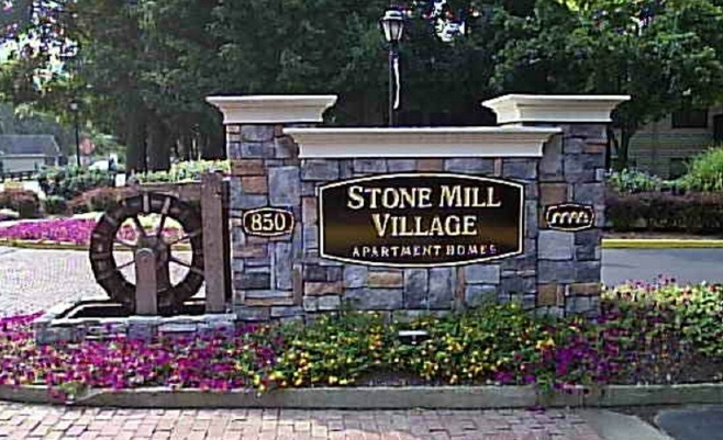 K20059 - EPS Monument Sign with Faux Stone Facing for Stone Mill Village Apartments