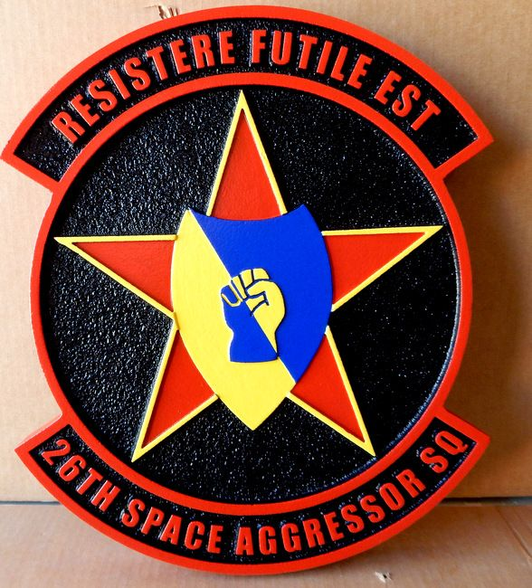 """LP-1224 - Carved Round Plaque of the Crest of the 24th Space Aggressor Squadron, """"Resistere Futile Est"""",  Artist Painted"""