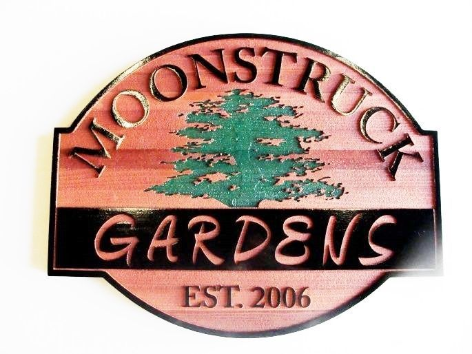GA16537 -  Carved Redwood Sign with Both Raised, Flat  and Engraved Lettering and an Engraved Tree