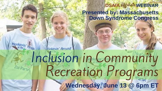 Inclusion in Community Recreation Programs WEBINAR