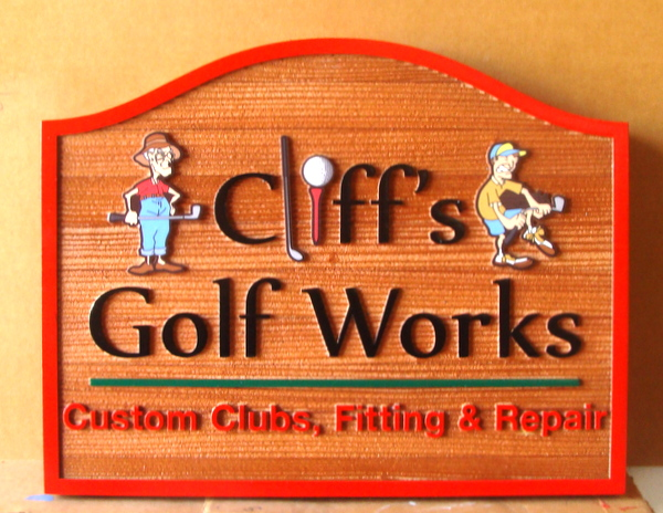 E14218  – Carved and Sandblasted Redwood  Sign for Cliff's Golf Works, with Cartoon Art