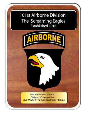 "V31760 -  Mahogany Carved Wall Plaque for ""Screaming Eagles"" USA 101st Airborne Division"