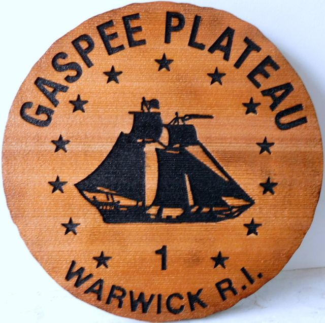 "L21315 - Sandblasted Cedar Round Plaque fpr ""Gaspee Plateau"", Featuring the Silhouette of a Topsail Schooner"