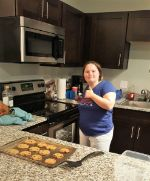 Mia baking cookies in her kitchen