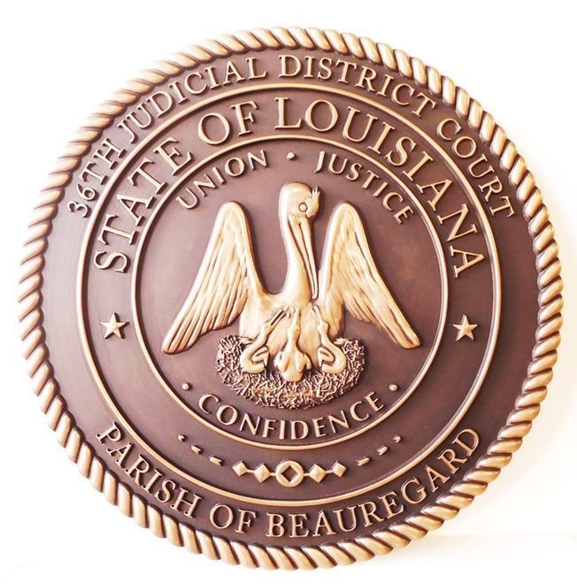 W32217 -  Carved 3-D Brass-plated HDU Plaque of the 36th Judicial Court featuring the Seal of the State of Louisiana