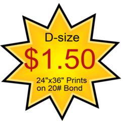 d-size blueprints $1.50