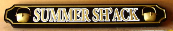 """L21864 - Carved Quarterboard Sign for """"Summer Sh'ack"""", with Raised Outlined Text and 3-D Pots"""
