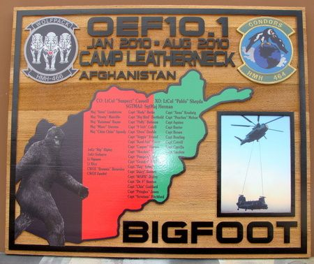 KP-2280 -  Carved Campaign Board of  Camp Leatherneck , Afghanistan, US Marine Corps,  Artist Painted Cedar Wood with Photos