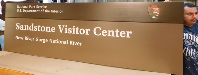 G16021 - Large Cedar Wood Sign for the National Park Service's New River Gorge National River Park, Sandstone Visitor Center