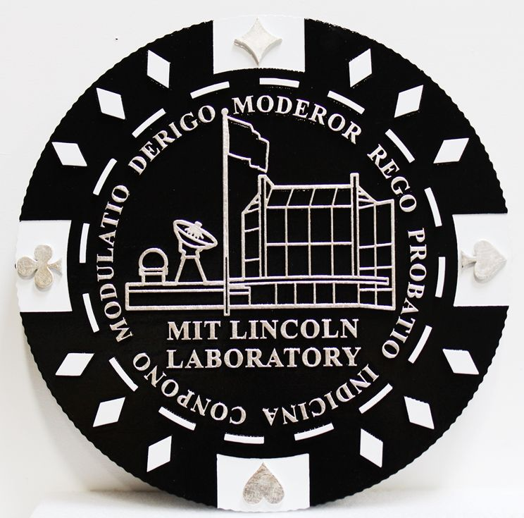 VP-1425 - Carved 2.5-D Outline Relief Wall Plaque of the Seal/Logo of the MIT Lincoln Laboratory