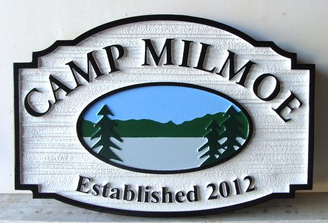 G16316  - Sandblasted and Carved HDU Entrance Sign for Private Camp