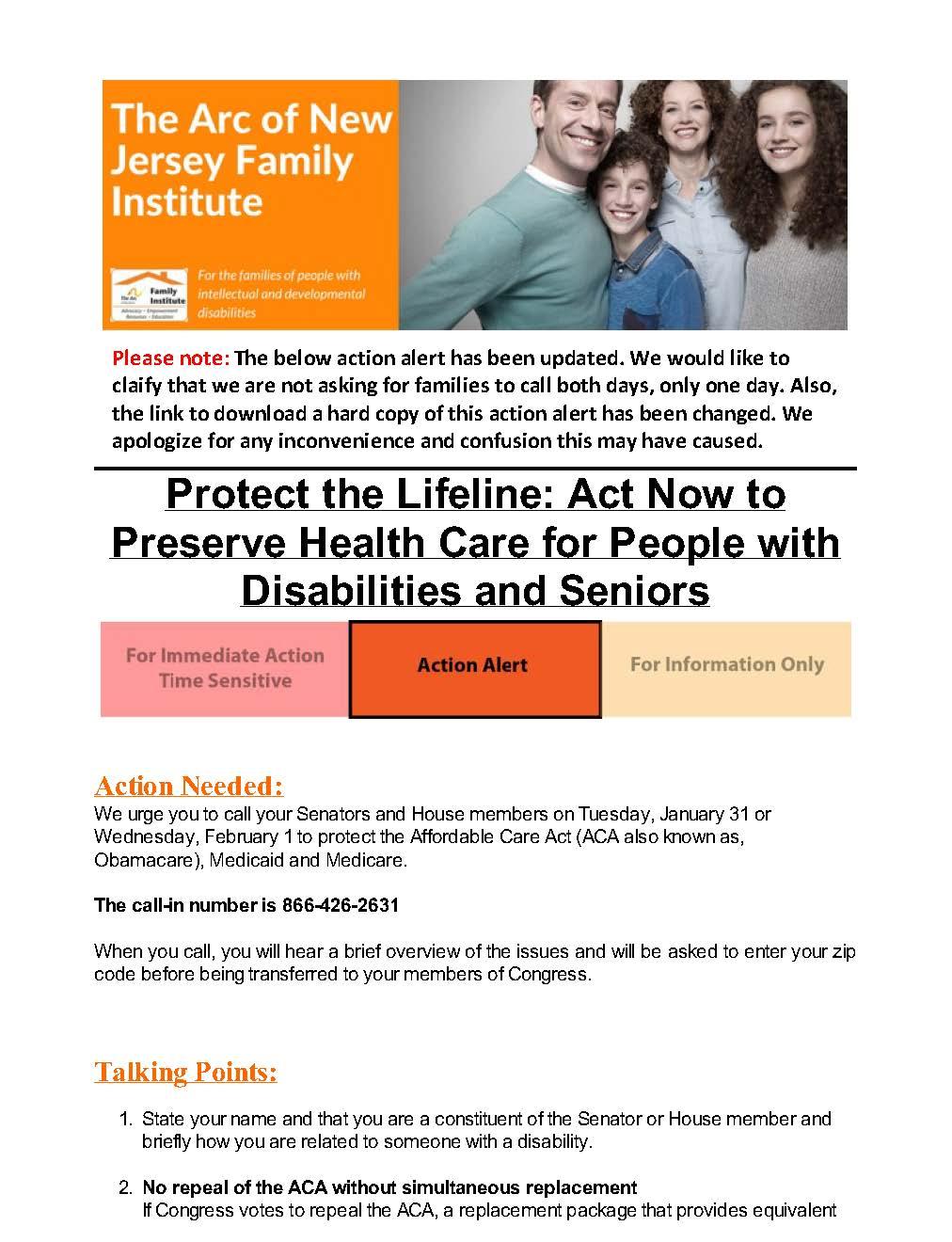 Preserve the ACA Call-in days - 1.30.2017