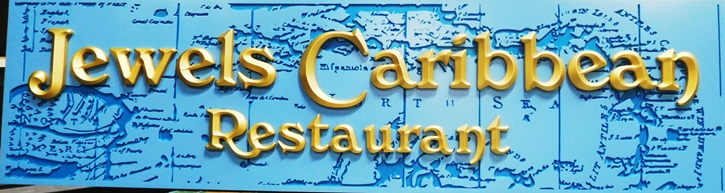 "Q25116 -  3-D Sign for the ""Jewels Caribbean Restaurant""   with Raised Prismatic Gold-Leaf  Letters"