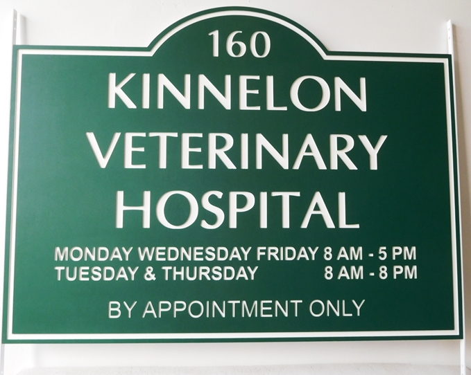 B11749- Carved Engraved Entrance Sign for the Kinnelon Veterinary Hospital, with Text for Hours Open