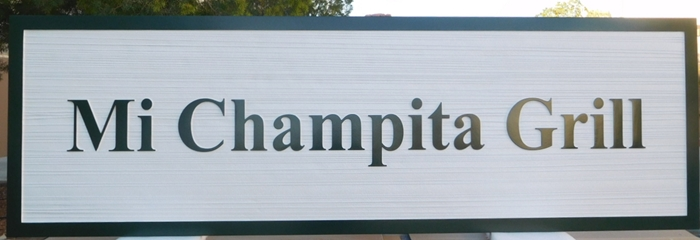 "Q25746 - Carved and Sandblasted Wood Grain Sign  ""Mi Champita Grill"" with 2.5-D Raised Text"