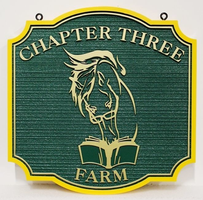 """P25339 - Carved and Sandblasted Wood Grain HDU Sign for """"Chapter Three Farm"""", with  a Stylized Face of a Horse Reading a Book as Artwork."""