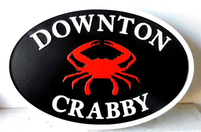 "L21568  – Carved 2.5-D HDU Coastal Residence Sign ""Downton Crabby"" with Crab"
