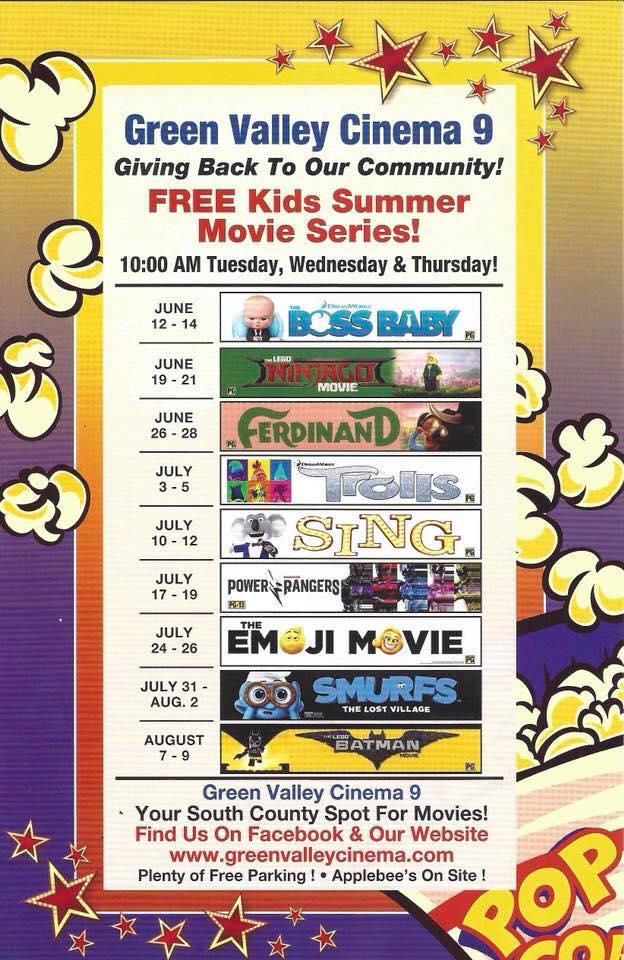FREE Kids Summer Movie Series at Green Valley Cinema (Watsonville)