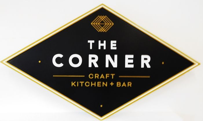 "Q25707 - Carved and Sandblasted HDU  Sign for ""The Corner-Craft Kitchen+Bar"", with Raised Text and Logo as Artwork"