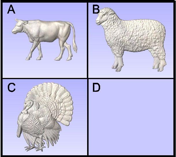 O24999B - Carved Farm Animals (Sheep, Turkey, Calf)