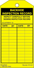 Backhoe Inspection Record Tag