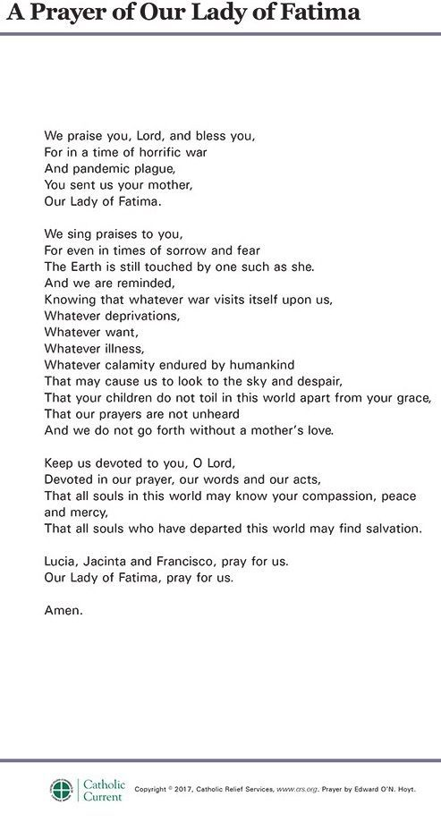 Prayer of Our Lady of Fatima