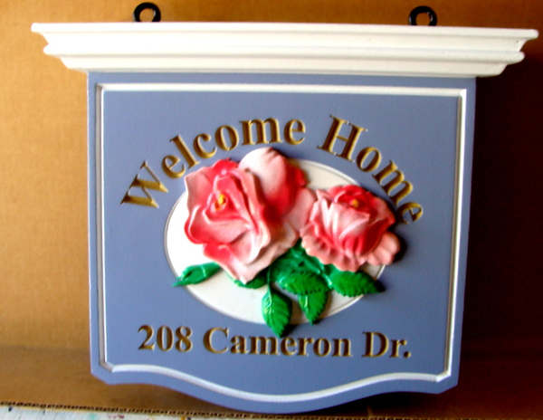 I18212 -  Welcome Home Sign,with Carved Roses and Engraved Metallic Gold Painted Text