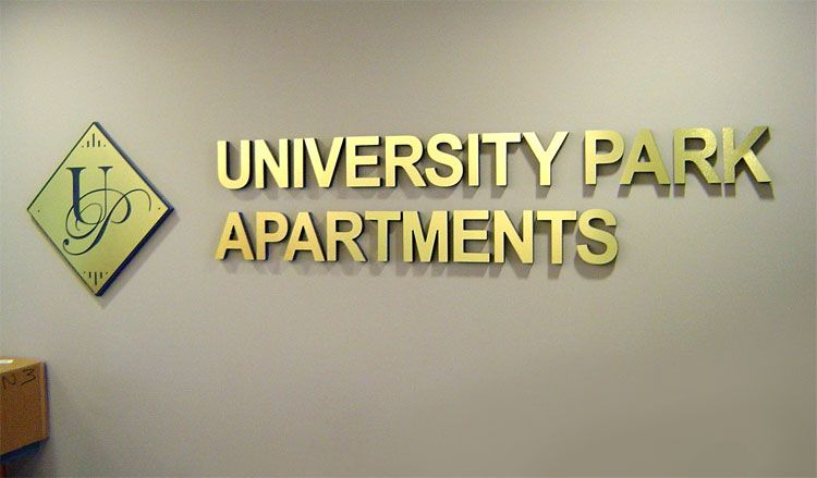 University Park Apartments Brushed Gold Letters