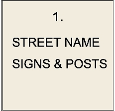 1. - H17000 - Carved Wood Street Name Signs and Iron Posts