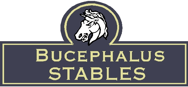 "P25190 - Design of a Carved Wood or HDU Sign for""Bucephalus Stables,"" with Carved Horse Head"