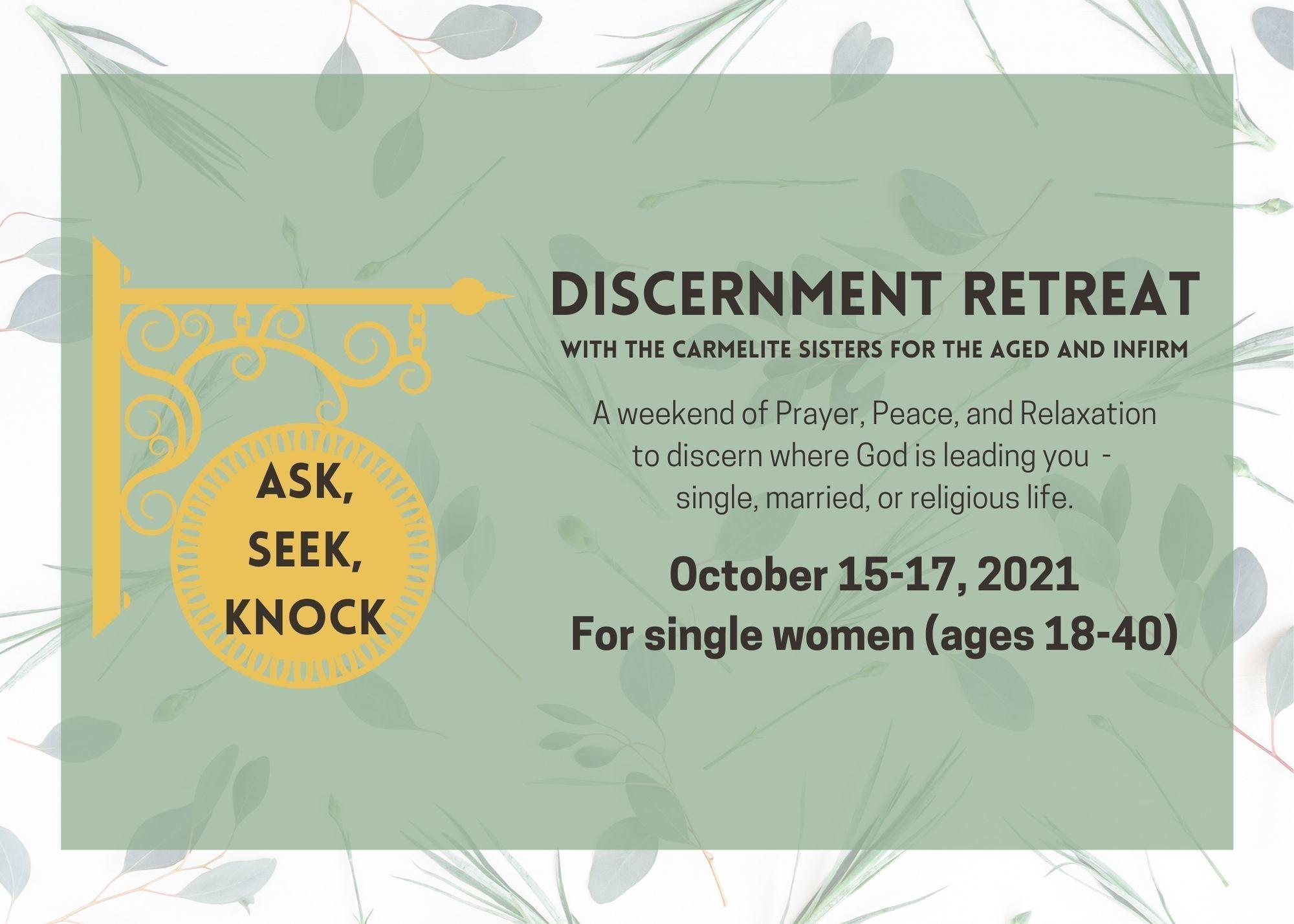 Upcoming Discernment Retreat