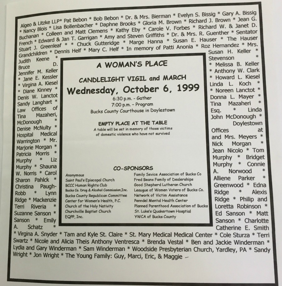 The program for AWP's 1999 Candlelight Vigil.
