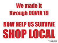 """18"""" x 24"""" We Made it - Shop Local  - Weather Proof Plastic with Stake"""