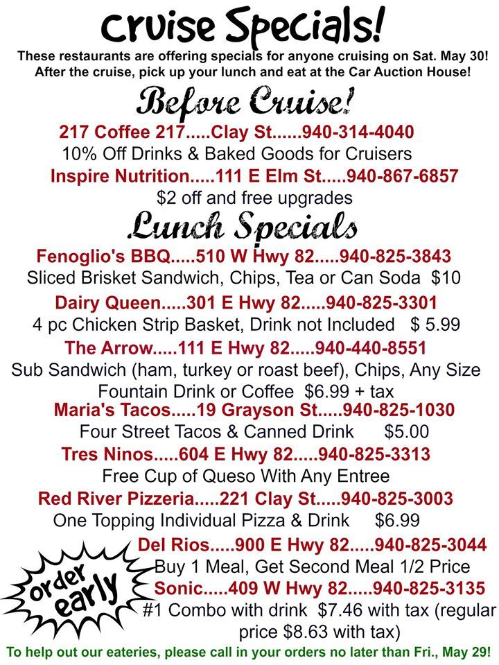 Cruisin' Nocona Lunch Specials