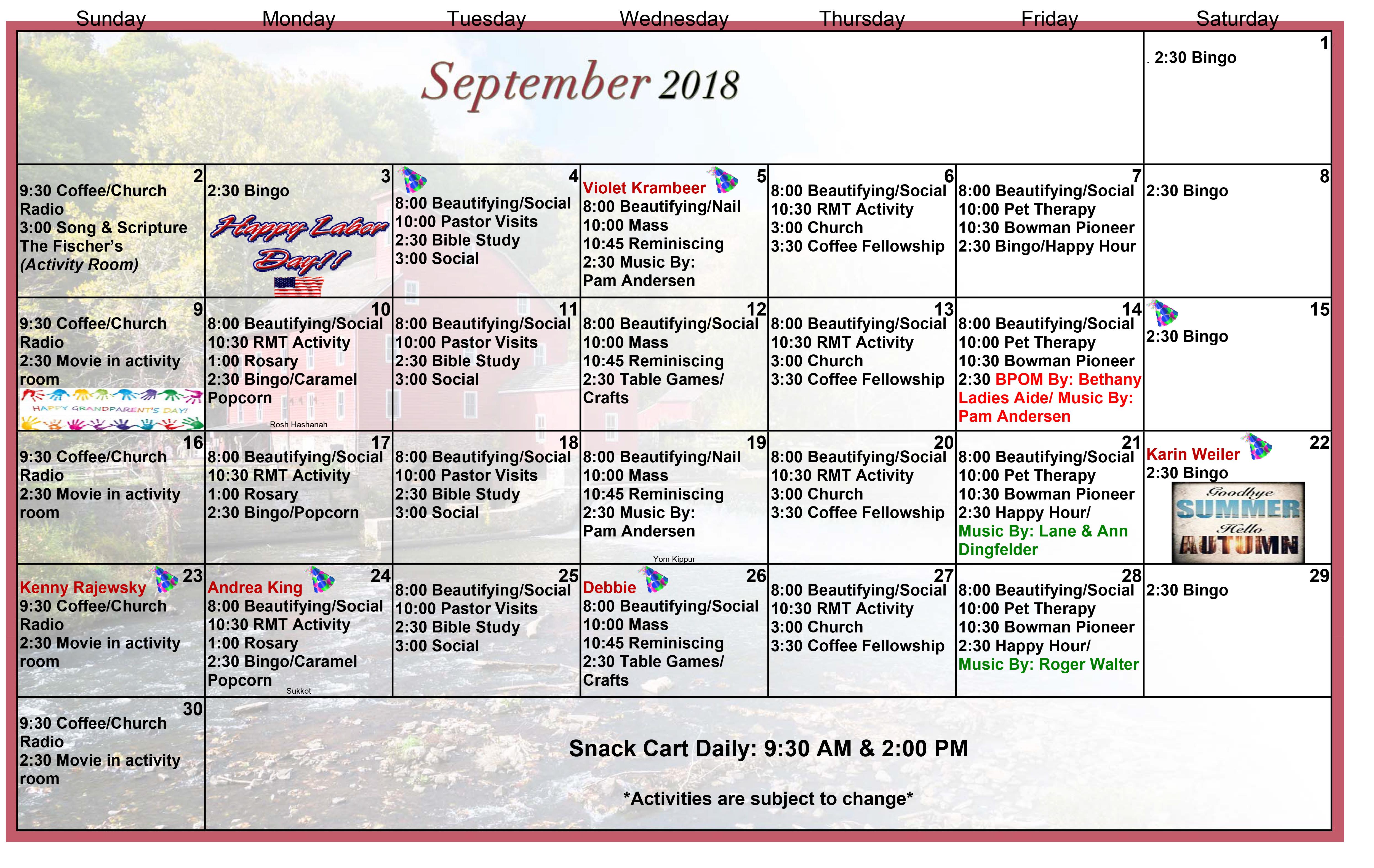 September 2018 Event Calendar