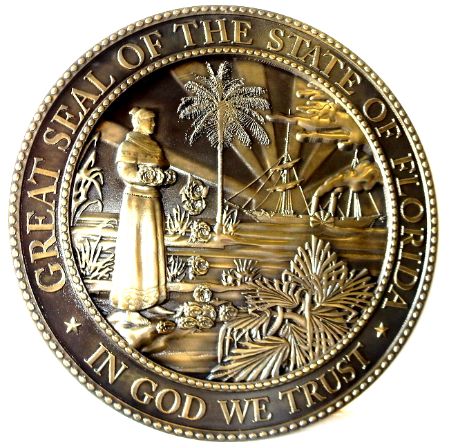W32113B -Brass Bas-Relief Wall Plaque of the Great Seal of Florida