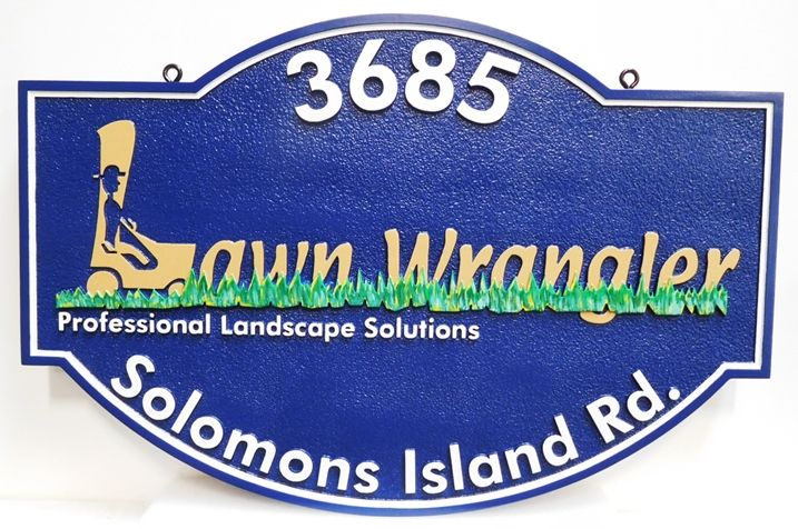 """SA28818 - Carved Hanging Address Sign made for the """"Lawn Wrangler"""" Professional Landscape Solutions Business, 2.5-D Artist-Painted"""