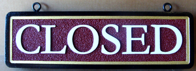 "Q25855 - Sandblasted, Sandstone Texture, HDU Hanging Sign ""Closed"""