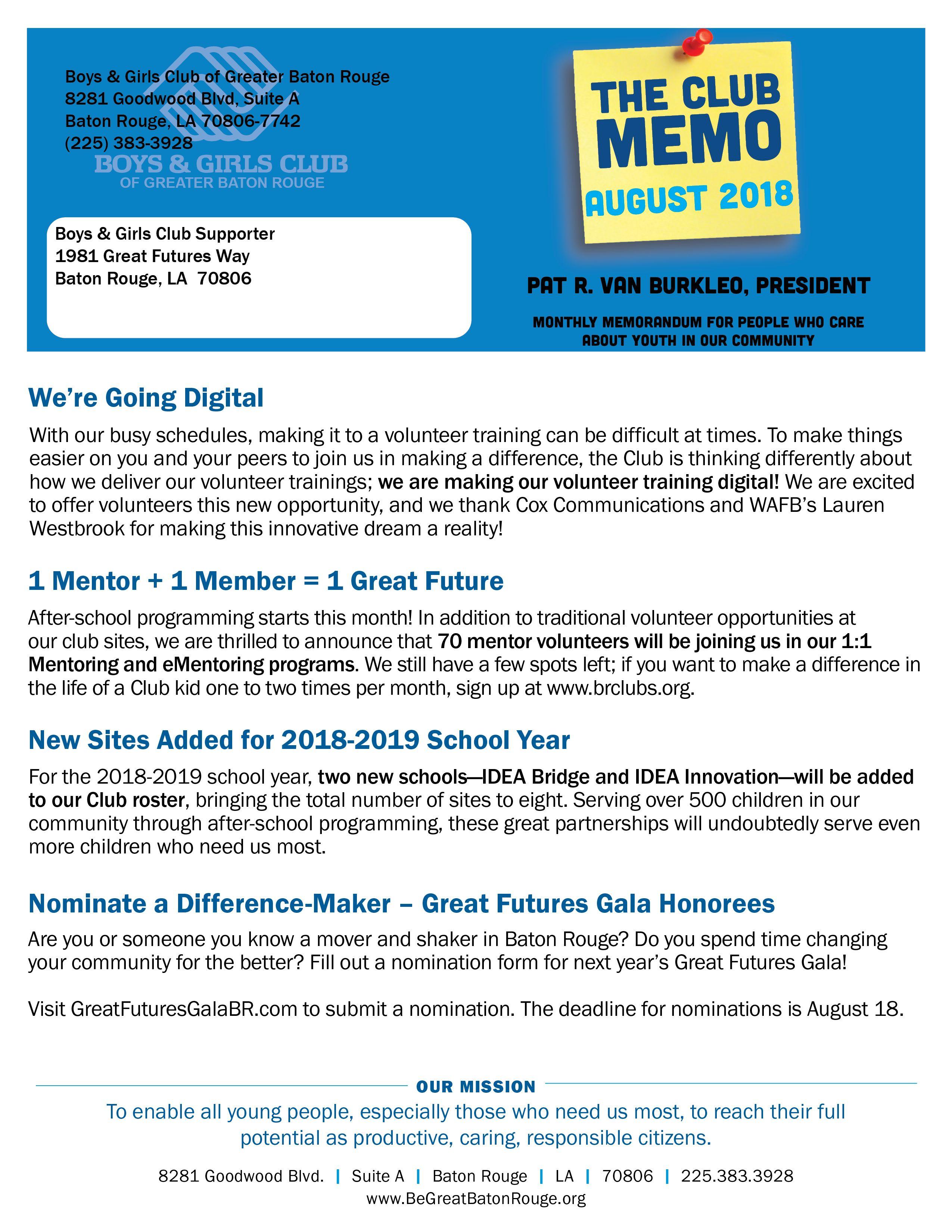 August 2018 Club Memo