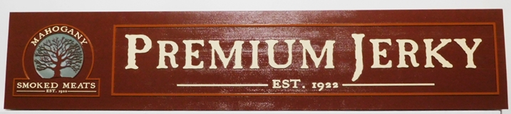 "Q25656 - Carved and Sandblasted Mahogany Wood Sign for ""Premium Jerky"" , with Raised Text, Border and Tree Logo as Artwork"