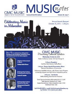Civic Music Newsletter Summer/Fall 2016