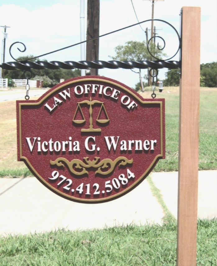 A10141- Sandblasted Attorney Sign with Hanger