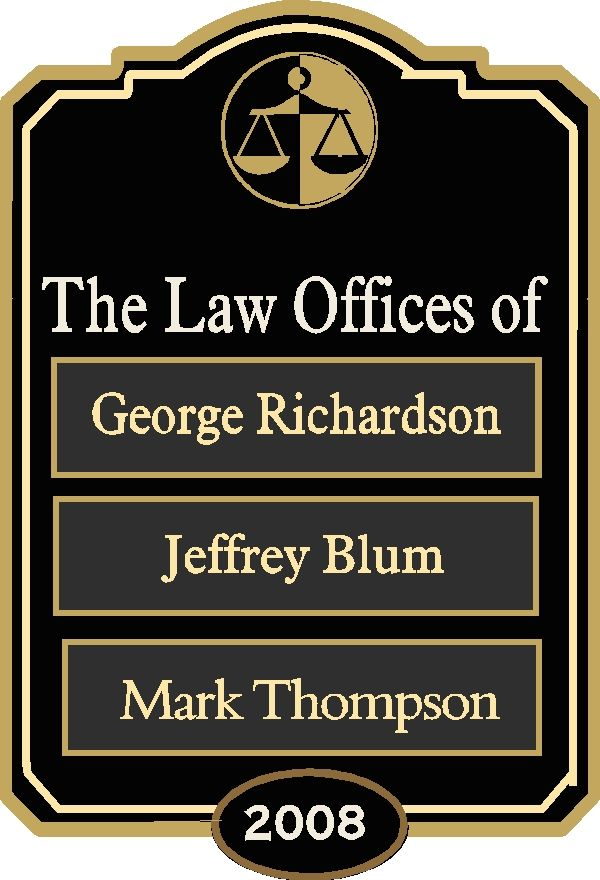 A10610 -  Law Office Sign with Changeable Nameplates