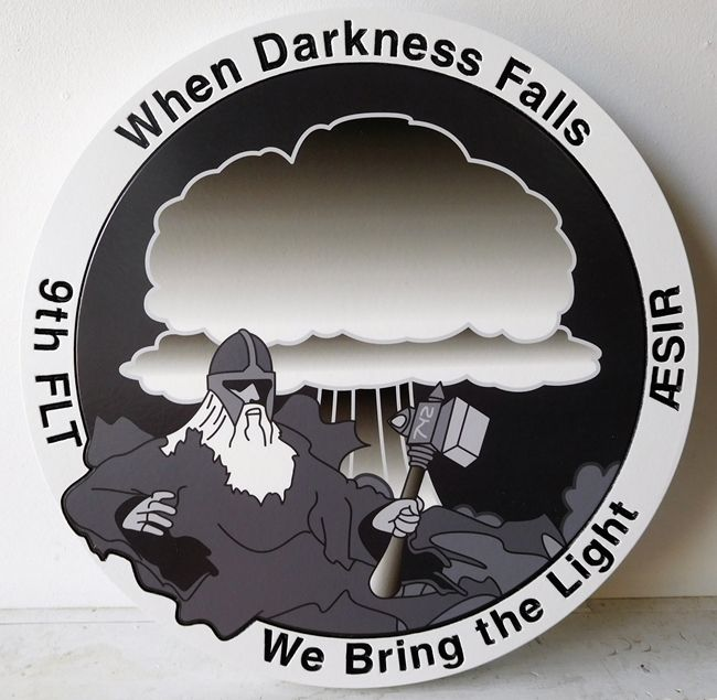 """LP-2660 - Carved Round Plaque of the Crest of the 9th Flight ASSIR. """"When Darkness Falls, We Bring the Light"""", Artist Painted"""