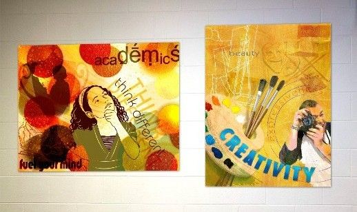 2 school signs showing academics and creativity, motivational signs